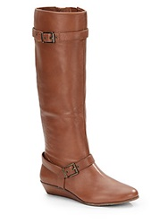 Arturo Chiang Talulah Leather Tall Wedge Boots Brown