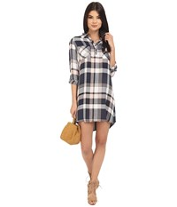 Bb Dakota Midge Drapy Soft Hand Plaid Shirtdress Rose Smoke Women's Dress Pink