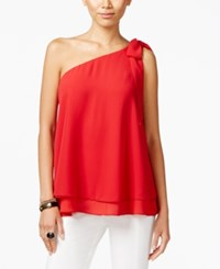 Inc International Concepts One Shoulder Bow Blouse Only At Macy's Real Red