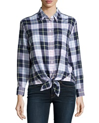 Equipment Daddy Tie Front Plaid Blouse Peacoat Multicolor