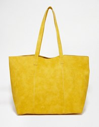 Warehouse Embossed Croc Shopper Bag Mustard Yellow