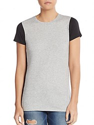 Vince Two Tone Pima Cotton And Modal Tee Grey Black