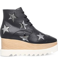 Stella Mccartney Elyse Star Faux Leather Ankle Boots Blk Grey