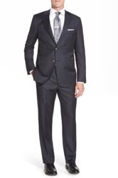 Hickey Freeman Classic Fit Check Wool Suit Blue