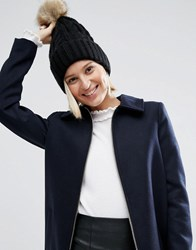 Asos Cable Faux Fur Pom Beanie Black