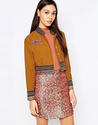 Sister Jane Sun Salute Military Jacket With Embroidered Trim Tan