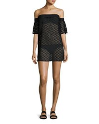 Milly Flutter Sleeve Netting Coverup Minidress Black