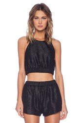 Shakuhachi Crinkle Crop Top Black