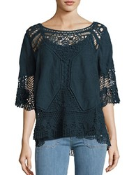 Democracy Embroidered Crochet Top Artic