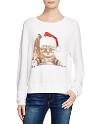 Wildfox Couture Wildfox Meowy Christmas Printed Sweatshirt Clean White