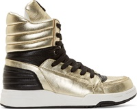 Diet Butcher Slim Skin Black And Gold High Top Sneakers