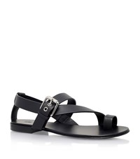 Giuseppe Zanotti Crossover Leather Buckle Sandals Male Black