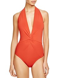 Robin Piccone Ava Plunge Halter One Piece Swimsuit Paprika