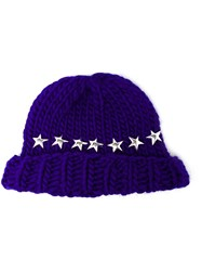 Wool And The Gang Knitted Star Beanie Hat Blue