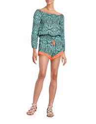 Vintage Havana Patterned Long Sleeved Romper Turquoise