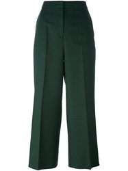 Rochas Wide Legged Tailored Cropped Trousers Green