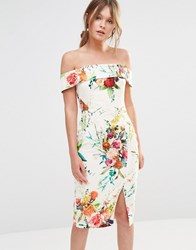 Oasis Floral Bardot Pencil Dress Ivory