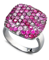 Effy Collection Balissima By Effy Pink Sapphire 1 5 8 Ct. T.W. And Ruby 1 5 8 Ct. T.W. Square Ring In Sterling Silver