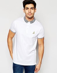 Brave Soul Knitted Contrast Collar Polo Shirt White