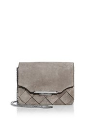 Rag And Bone Woven Suede Moto Clutch Warm Grey