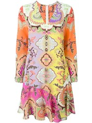 Etro Floral Paisley Print Dress Pink And Purple
