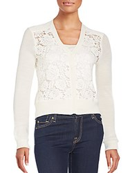 Rebecca Taylor Lace Front Cardigan Chalk