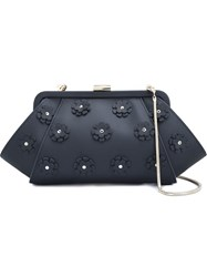 Zac Zac Posen Floral Applique 'Posen' Clutch Black