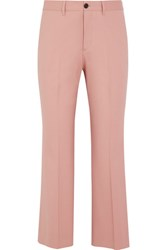 Miu Miu Cropped Stretch Wool Twill Flared Pants Blush
