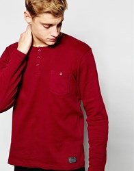 Solid Long Sleeve Grandad Top Red