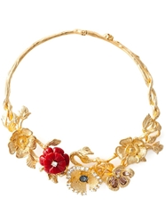 Alexander Mcqueen Cherry Blossom Necklace Metallic