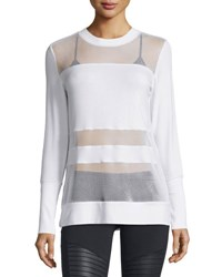 Alo Yoga Plank Mesh Panel Long Sleeve Top White