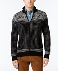 Tommy Hilfiger Men's Nordic Patterned Sweater Jacket Black