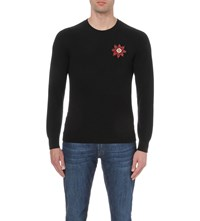 Alexander Mcqueen Badge Waffle Knit Cashmere Jumper Black Red