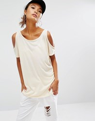 Daisy Street Cold Shoulder T Shirt Ecru Stone