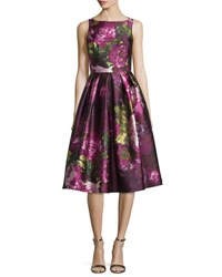 Carmen Marc Valvo Sleeveless Pleated Floral Cocktail Dress Magenta