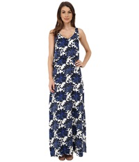 Splendid Mediterranean Blossom Maxi Dress Royal Blue Women's Dress