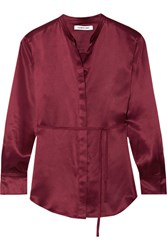 Elizabeth And James Wiley Silk Satin Shirt Burgundy