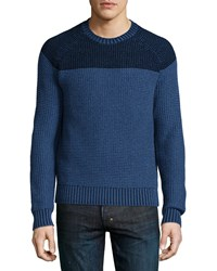 Neiman Marcus Colorblock Reverse Raglan Sweater Blue