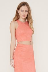 Forever 21 Faux Suede Crop Top Coral