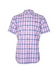 Raging Bull Voile Check Short Sleeve Button Down Shirt Pink