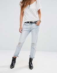 Lira Boyfriend Jeans With Ankle Zip Detail And Distressing Lt. Blue