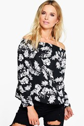 Boohoo Floral Printed Off The Shoulder Top Multi