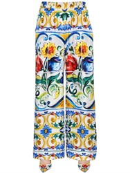 Dolce And Gabbana Maiolica Printed Silk Twill Pants