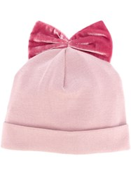 Federica Moretti 'Velvet Bow' Beanie Pink And Purple