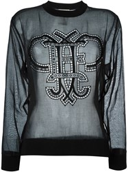 Emilio Pucci Broderie Anglaise Sheer Sweatshirt Black