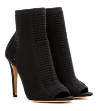 Gianvito Rossi Vires Knitted Peep Toe Ankle Boots Black