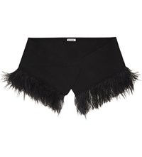 Jil Sander Feather Wool And Cashmere Blend Scarf Black