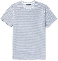 Etro Sim Fit Striped Stretch Cotton Terry T Shirt Navy
