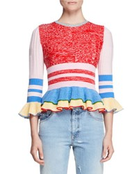 Alexander Mcqueen Ribbed Knit Ruffle Trim Sweater Multi Multi Colors