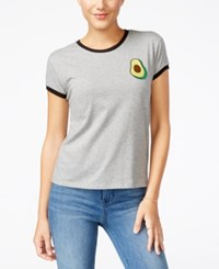 Mighty Fine Juniors' Guac Patch Graphic Ringer Tee Heather Grey